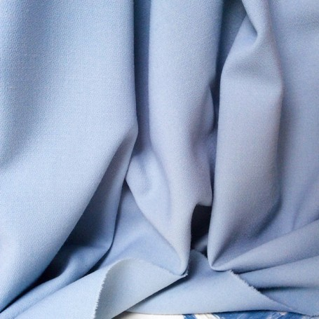 tissu crepe de laine, tissu bleu