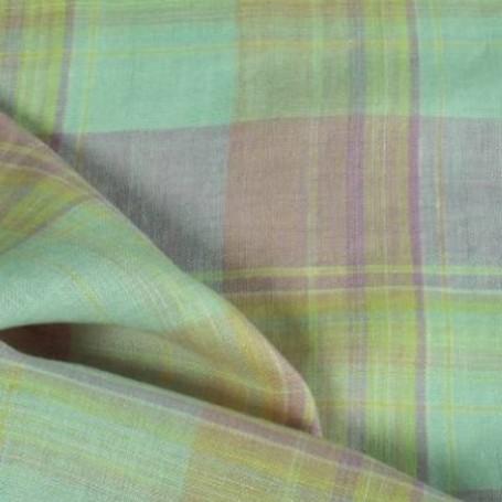 Tissu lin écossais rose et vert