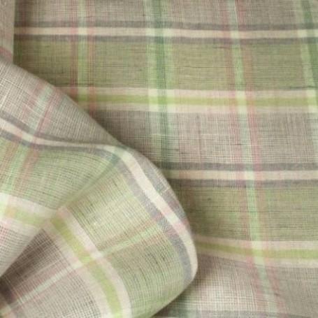 Tissu lin écossais vert