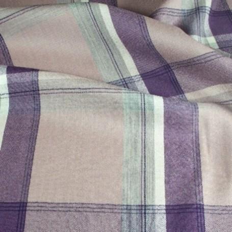 Tissu écossais de laine rose et violet