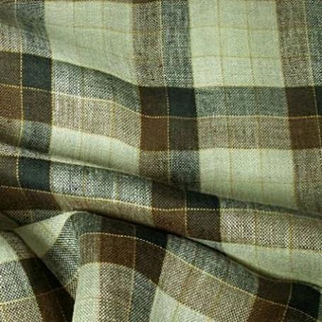 Tissu écossais en lin beige et marron pour chemise