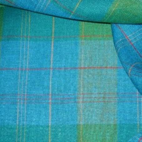 Tissus tartan turquoise et vert