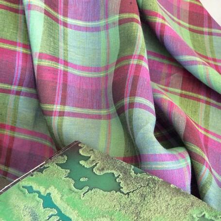 Tissu écossais en lin vert et fuchsia
