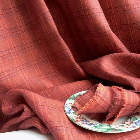 Tissu ecossais rouge grenade