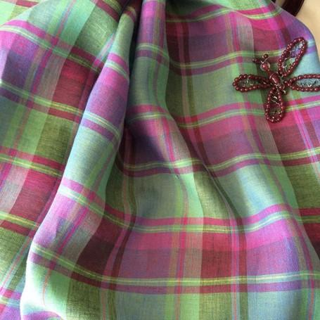 Tissu écossais lin vert et fuchsia
