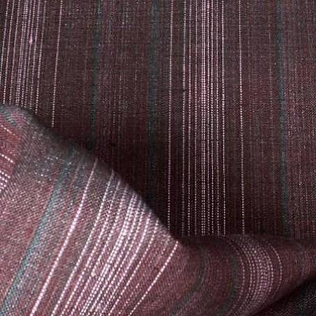 Tissu en lin prune à rayures