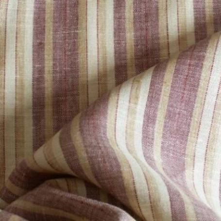 Tissu en lin rayures beige et bordeaux