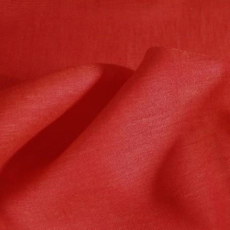 Tissu lin, rouge orange, lin lavé au mètre