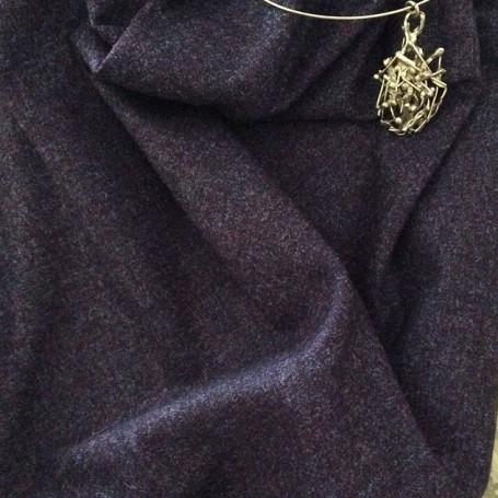 tissu faux uni prune chiné