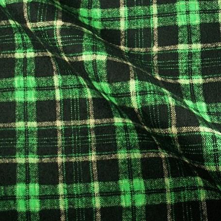 Tissu flanelle de laine écossais noir et vert