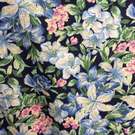 Tissu imprimé fleuri bleu
