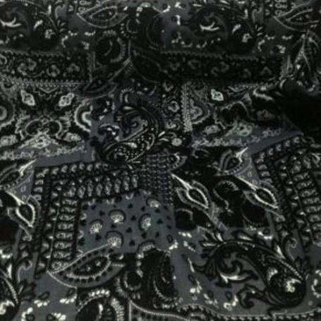 Tissu laine tissu au metre imprimé noir et argenté, chemisier, robe longue