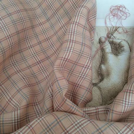 tissu lin au metre rose