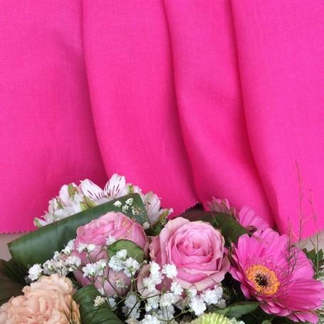 Tissu lin batiste tissu rose