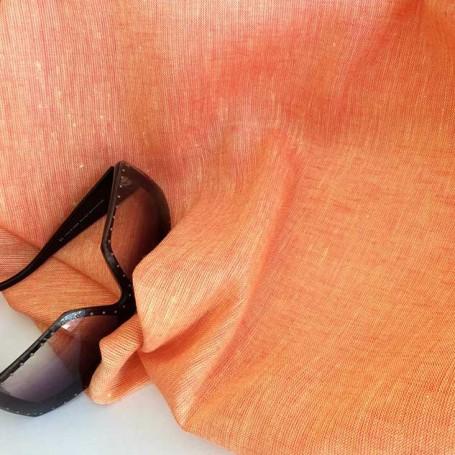 Tissu lin changeant orange