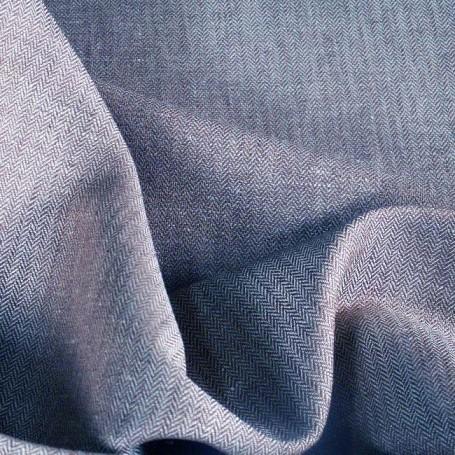 Tissu lin imprimé chevron bleu et blanc