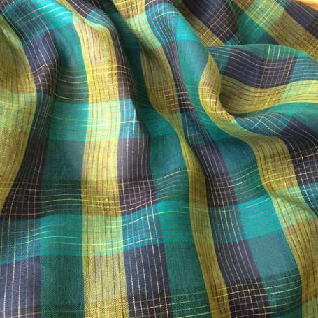 Tissu lin écossais vert turquoise
