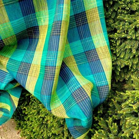 Tissu lin écossais vert et bleu tissu rideau