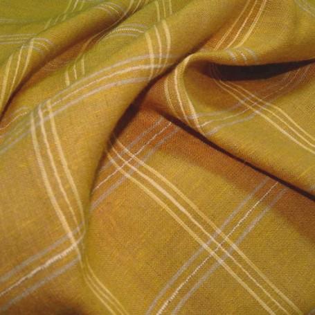 Tissu lin et viscose jaune à carreaux