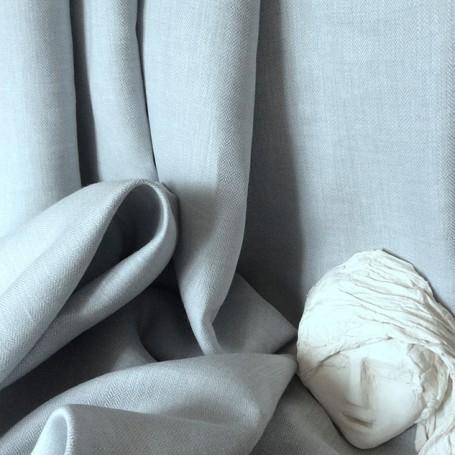Tissu lin ameublement bleu et blanc