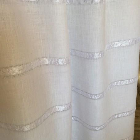 Tissu lin rayures bayadères blanc