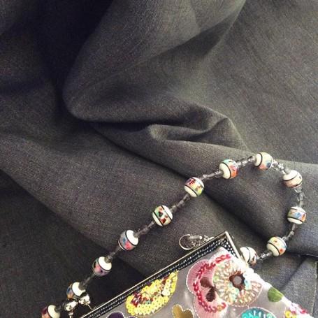 Tissu changeant tissu gris jean