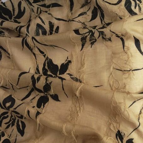 Tissu lin beige imprimé Cardailhac