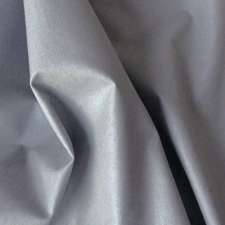 Tissu polyester coton enduit gris brillant
