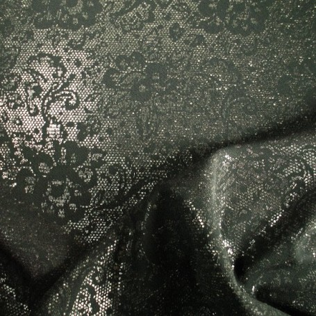 Tissu polyester-laine impression contrecollé pailettes