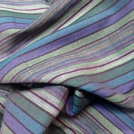 Tissu polyester lin rayures bayadères vert et bleu