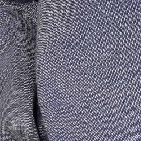 Tissu lin polyester chambray bleu