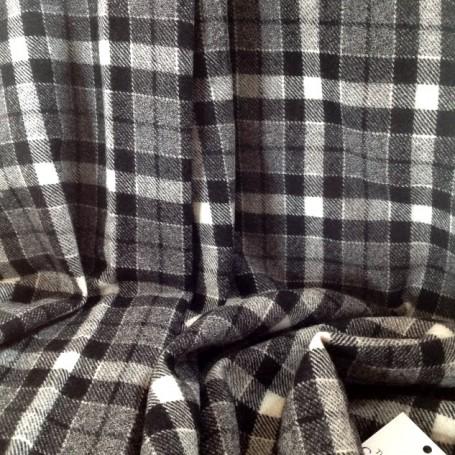 Tissu tartan gris noir et blanc