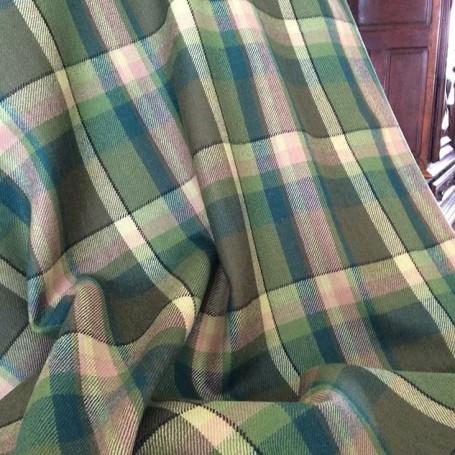 Tissu carreaux vert