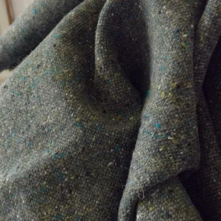 Tissu tweed vert kaki