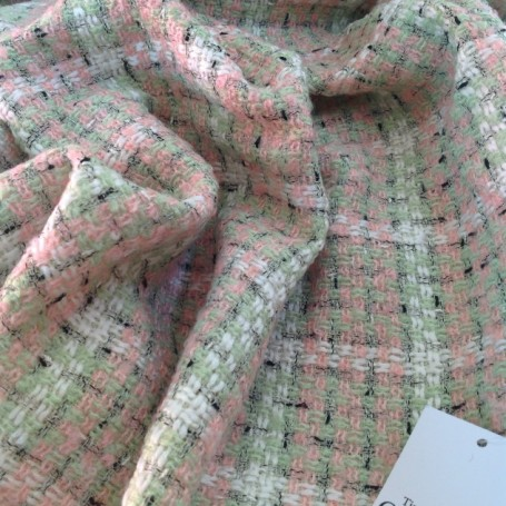 Tissu tweed vert et rose