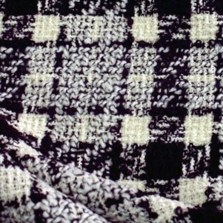 Tissu tweed de laine carreaux noir et blanc