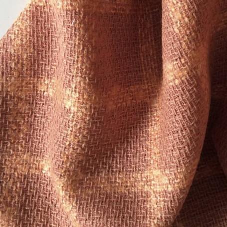 Tissu tweed de laine carreaux cuivré