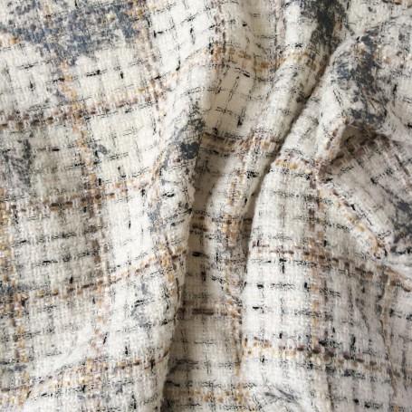 tissu tweed ecru imprimé gris nacré