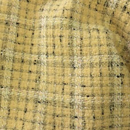 Tissu tweed jaune à carreaux