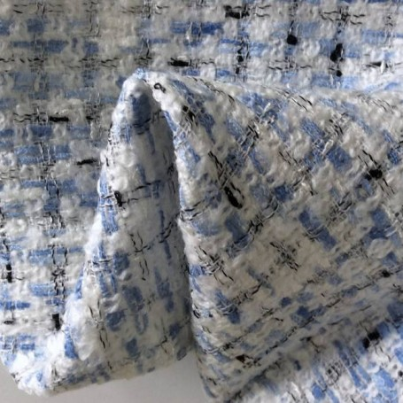 Tissu rideau tweed contemporain bleu et blanc