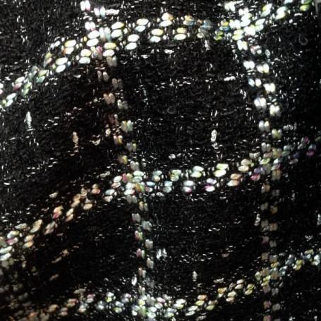 Tissu tweed noir et blanc contemporain