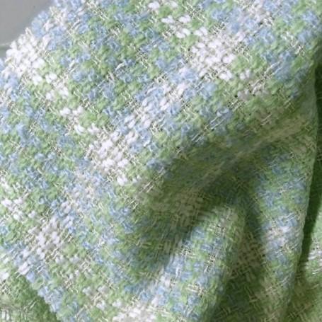Tissu tweed vert et bleu pastel