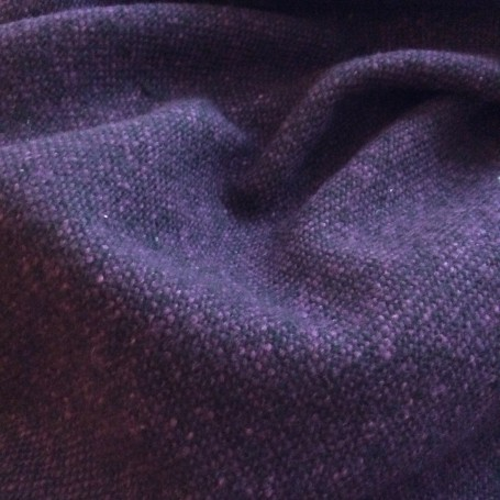 tissu tweed vintage noir et aubergine