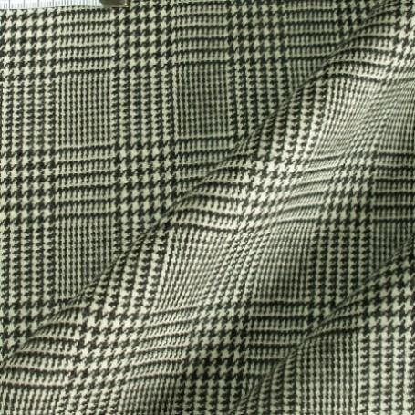 Tissu laine à carreaux noir et blanc, jupe, robe, tailleur