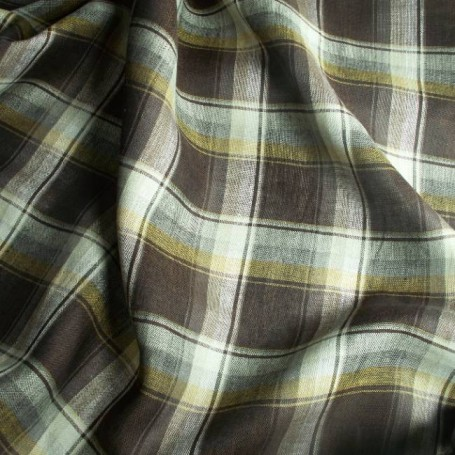 Tissu lin écossais marron