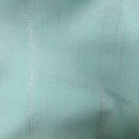 Tissu lin turquoise à rayures brillantes