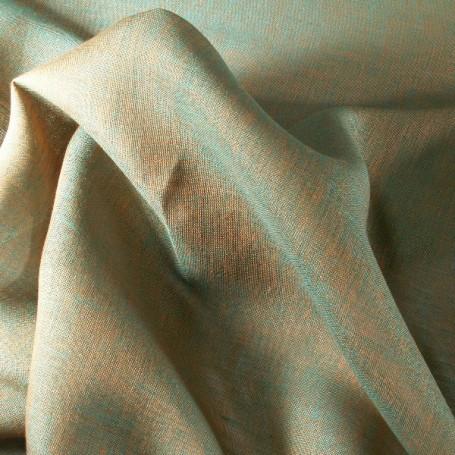 Tissu lin orange et vert