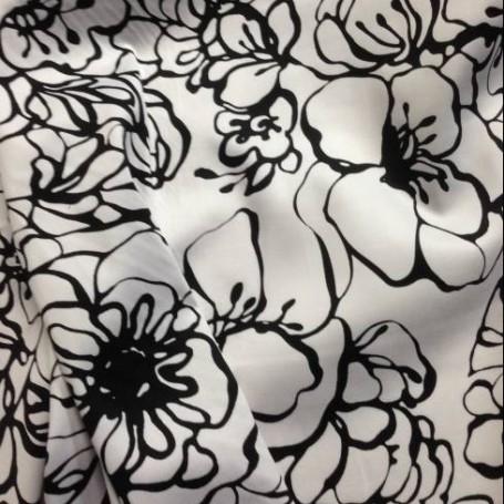 Tissu en coton imprimé Noir et Blanc