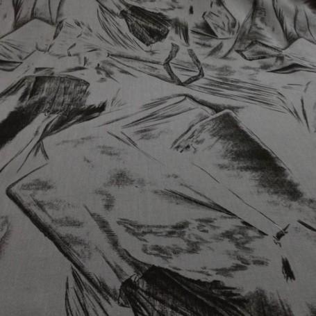 Tissu lin imprimé gris et noir
