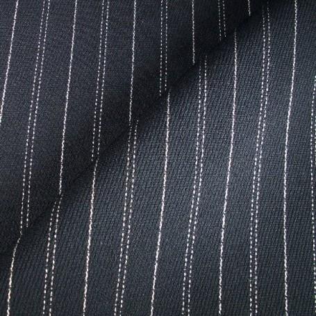 Tissu polyester laine marine à rayures